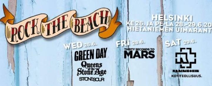 Kesän Rock the Beachin päiväohjelmaakin julki