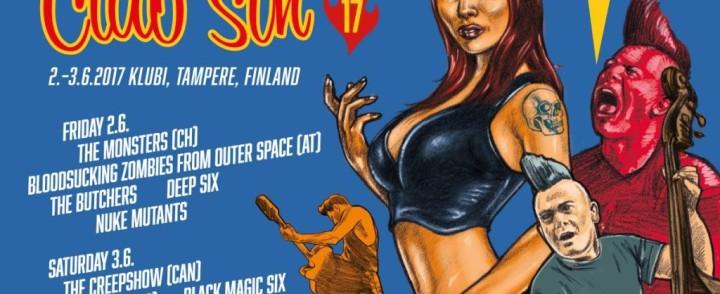 Club Sin 17 pääesiintyjät ovat ensi kertaa Suomeen tuleva The Monsters sekä The Creepshow