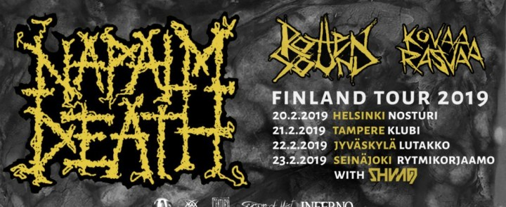 Grindcore-pioneeri Napalm Death rundaa Suomea helmikuussa