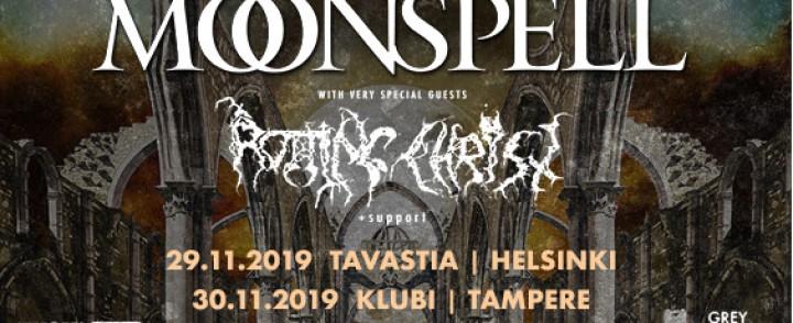 Moonspell yhdessä Rotting Christin kanssa kolmelle keikalle Suomeen