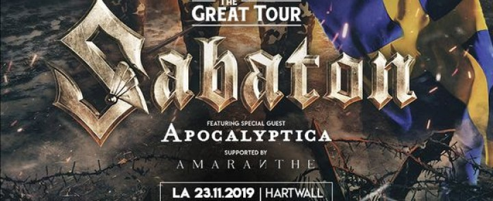 Sabaton saapuu Hartwall Arenalle, mukana Apocalyptica ja Amaranthe