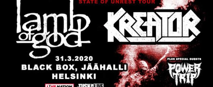 Lamb of God ja Kreator yhteisrundillaan Ouluun ja Helsinkiin